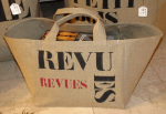 "Small-size bag, black stencilled ""Revues"