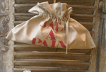 "Horizontal bread bag, stencilled ""Sac à pain"