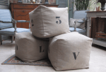 "Pouffe, stencilled linen ""Love"", ""Cool"", Die-like(1,2,3,...,6)"