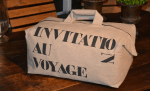 "Week-end bag, stencilled linen, ""Invitation au voyage"