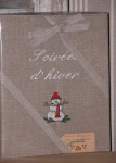 "Ph-Alb(Chrismas collection) 23x30  ""Soirés d'hiver"" (snowman) (linen)"