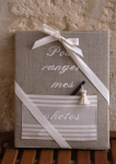 "Photos-Album 23x30.  ""Pour ranger mes photos"" (pocket, linen, ivory embroidery)"