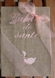 "Health notebook cover  ""goose""  (linen, pink embroidery)"