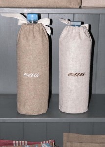 "Linen 1.5L-water-bottle-cover  ""eau"