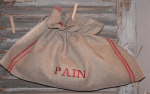"Sac à pain horizontal  ""Pain""  torchon brodé rouge"