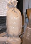 "Plastic bags holder  ""Sac à sacs""  ivory embreidered cloth"
