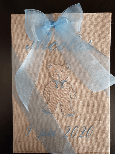 Customised embroidered linen or metis healthbook cover