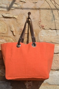 Mid-size carrier bag  leather handles, washed linen