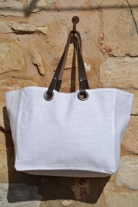 Mid-size carrier bag  leather handles, washed linen, white