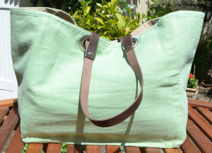 Mid-size carrier bag  leather handles, washed linen, WaterGreen