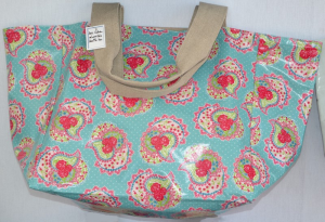 Mid-size carrier bag, turquoise alli plastified linen