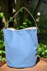 Bucket bag  leather handles, washed linen, sky blue