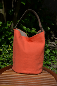 Bucket bag  leather handles, washed linen, orange colored
