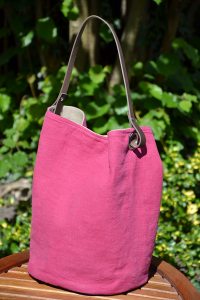 Bucket bag  leather handles, washed linen, raspberry colored