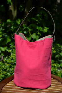 Bucket bag  leather handles, washed linen, fushia colored