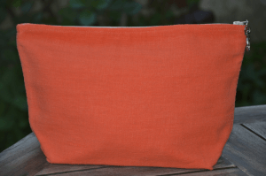 Holdall pouche, washed linen, large size, orange