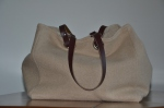 Mid-size carrier bag  leather handles, boiled wool