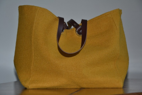 Mid-size carrier bag  leather handles, mustard boiled wool