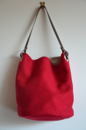 Bucket bag,  leather handle, boiled wool
