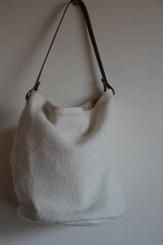 Bucket bag,  leather handle, white boiled wool