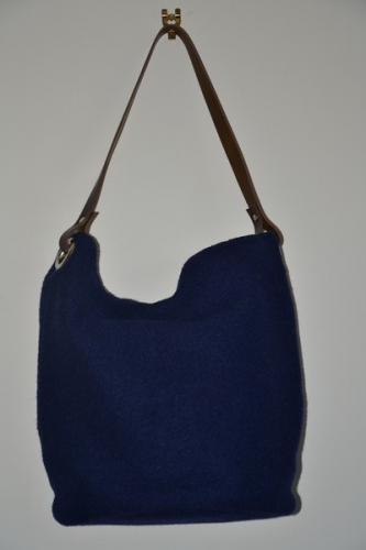 Bucket bag,  leather handle, navy blue boiled wool