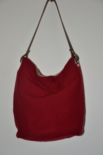 Bucket bag,  leather handle, brick red boiled wool