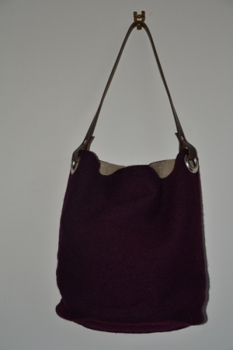 Bucket bag,  leather handle, plum boiled wool
