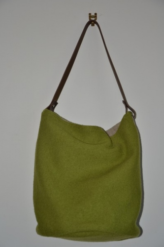 Bucket bag,  leather handle, green boiled wool