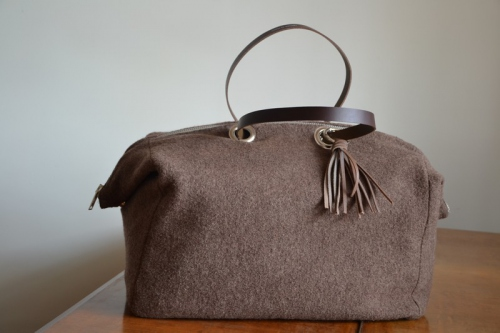 Week-end bag, 2 leather handles, chocolate boiled wool