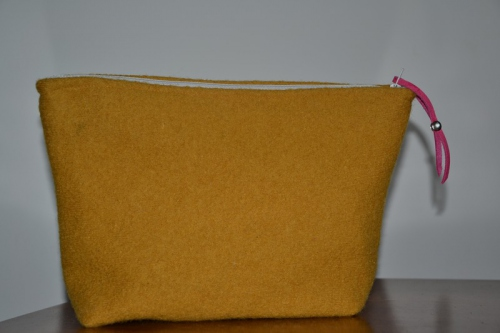 Mid-size mustard boiled wool holdall pouche