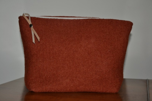 Mid-size orange boiled wool holdall pouche