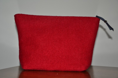 Mid-size tomato red boiled wool holdall pouche