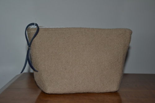 Small size beige boiled wool holdall pouche