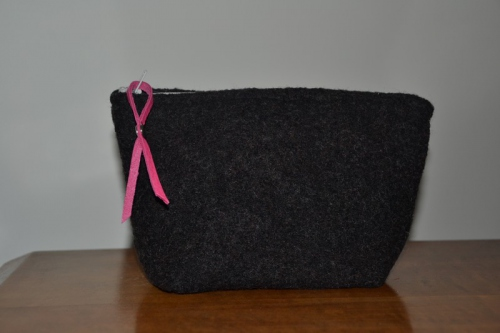 Small-size heather black boiled wool holdall pouche