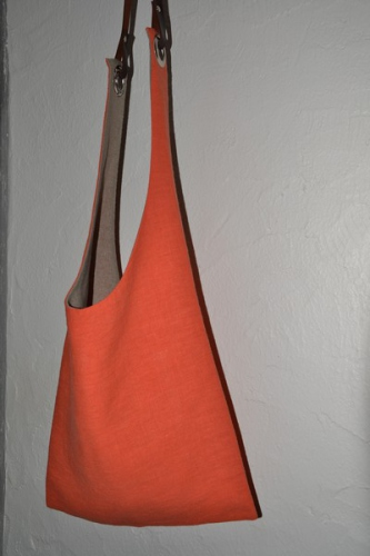 Shoulder bag, orange washed linen