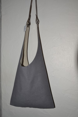 Shoulder bag  leather handle, washed linen