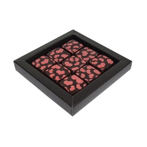 Box of 9 squares of dark chocolate with peach