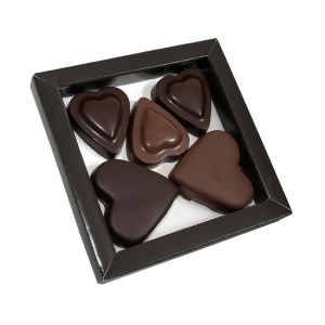 Box with 5 hearts chocolate