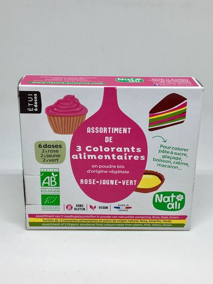 ASSORTIMENT DE TROIS COLORANTS ALIMENTAIRES