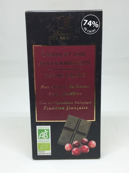 TABLETTE CHOCOLAT NOIR & CRANBERRIES
