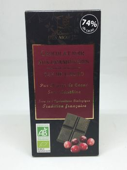 TABLETTE CHOCOLAT NOIR & CRANBERRIES BIO
