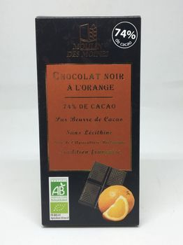 TABLETTE CHOCOLAT NOIR À L'ORANGE BIO