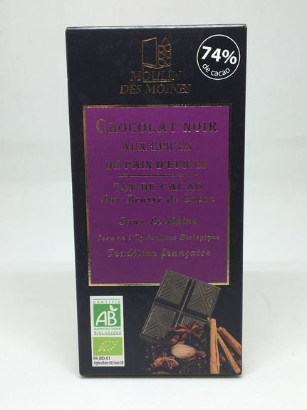 TABLETTE CHOCOLAT NOIR ÉPICES PAIN D'ÉPICES