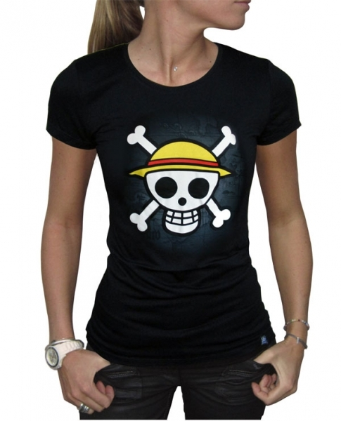 T-shirt Femme ONE PIECE : SKULL WITH MAP ABYSTYLE
