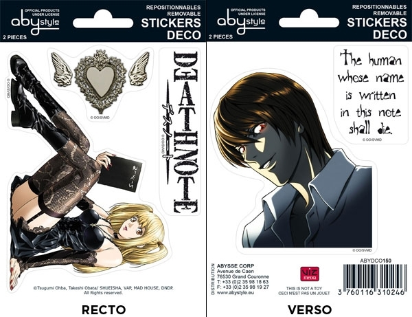 Death Note - Stickers - 16x11cm/ 2 planches - Misa/ Raito ABYstyle