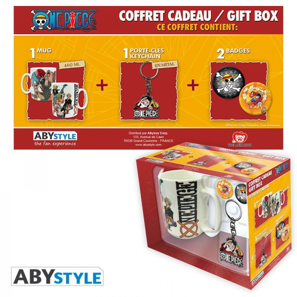 One Piece Pack Mug + Porte-clés + Badges New World Abystyle