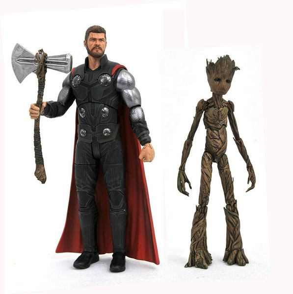 Avengers Infinity War Marvel Select figurines Thor & Groot Diamond Select