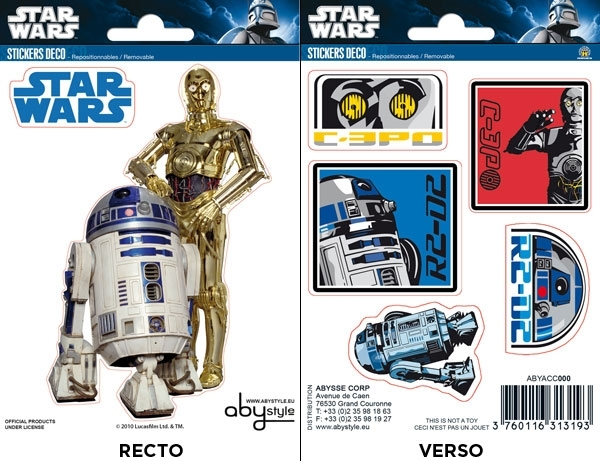 STAR WARS R2D2 & C-3PO MINI STICKERS ABYSTYLE