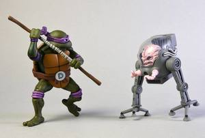 Les Tortues ninja pack 2 figurines Donatello vs Krang in Bubble Walker TMNT Neca