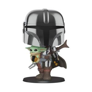 Star Wars The Mandalorian Super Sized POP! figurine The Mandalorian holding The Child Funko